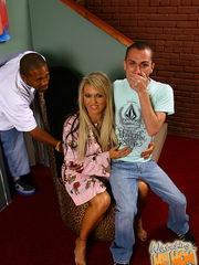 "Desiree De Luca @ WatchingMyMomGoBlack.com It appears as if pushing the devil's tobacco has warped Chad Diamond's mind. We start things off with a meeting between Chad and his buddy Rico Strong. Rico's interested in the green stuff but Chad's mom, Desiree De Luca, quickly turns into the world's bustiest ""narc"". Desiree isn't too happy that her little boy is mingling with the likes of Rico Strong , and her motherly instincts quickly ramp up. Desiree offers herself up to Rico if he stays away from her son, and before you can say ""sick"", Desiree is sucking on that big black knob. Chad's head is in the clouds, seeing as how he's pulling his white meat while mom is getting a mouth full of black cock. Desiree knows that her son has issues but that's not stopping her from getting her meaty pussy from welcoming in as much of Rico's big black cock as humanly possible. Chad's mom lowers herself onto Rico's thunderous black cock as he continues to jerk himself off; this almost makes you wonder where this family went wrong. Anyways, Desiree De Luca gets her first taste of black cock and there's no turning back. Rico slams her from behind as her face is just a foot or two from her son who's watching the mayhem unfold. The last thing we need to is for the De Luca family to reproduce. However, nothing can stop Rico from giving this slutty milf a creampie which glazes her entire reproductive system. Desiree De Luca puts her exclamation point on this encounter when she informs Rico and Chad that she's now taking over day-to-day operations of their weed trade. This family has set the bar higher for extremely fucked up families. Visit WatchingMyMomGoBlack.com - Watch My Cougar Mom Get Pounded By A Big Black Monster Dick! Watching My Mom Go Black Desiree De Luca"